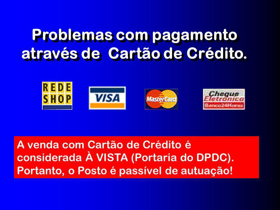 Problemas com pagamento através de Cartão de Crédito.