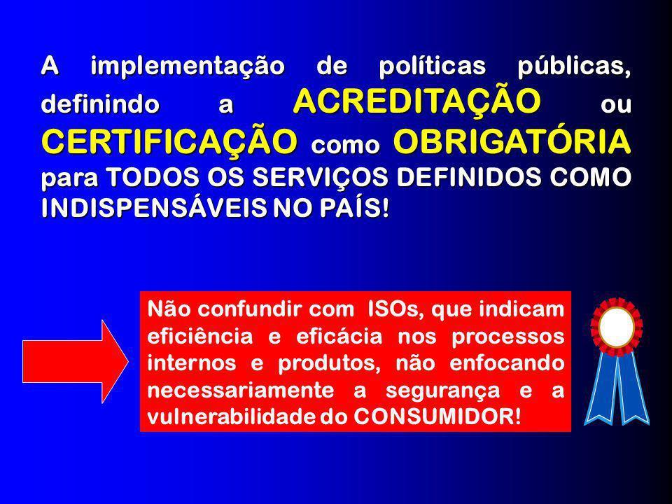 A implementação de políticas públicas, definindo a ACREDITAÇÃO ou CERTIFICAÇÃO como OBRIGATÓRIA para TODOS OS SERVIÇOS DEFINIDOS COMO INDISPENSÁVEIS NO PAÍS!