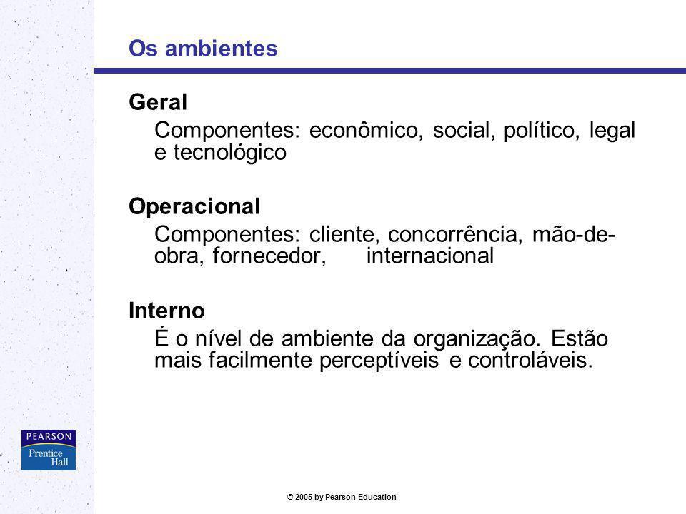Os ambientes Geral. Componentes: econômico, social, político, legal e tecnológico. Operacional.