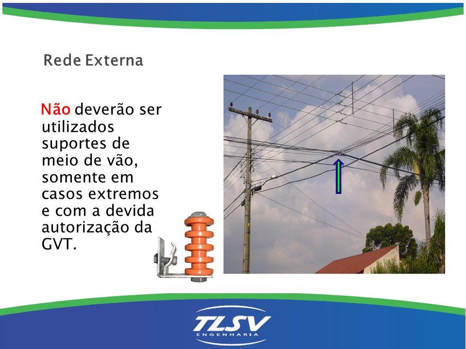 Rede Externa Não deverão ser utilizados suportes de meio de vão, somente em casos extremos e com a devida autorização da GVT.