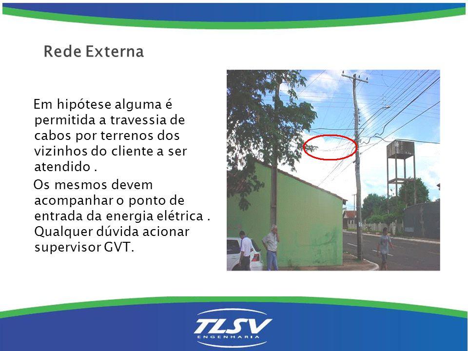 Rede Externa Em hipótese alguma é permitida a travessia de cabos por terrenos dos vizinhos do cliente a ser atendido .