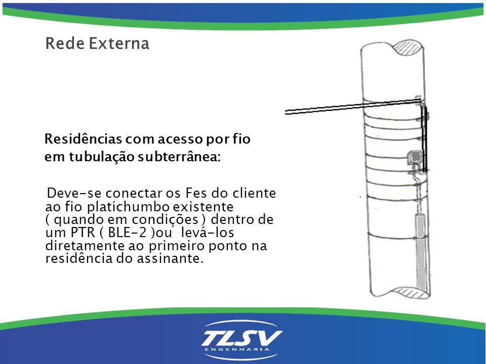 Rede Externa Residências com acesso por fio. em tubulação subterrânea: