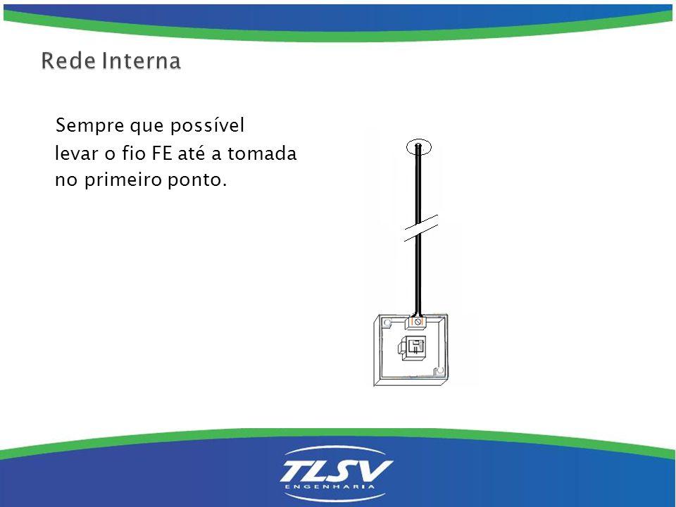 Rede Interna Sempre que possível levar o fio FE até a tomada