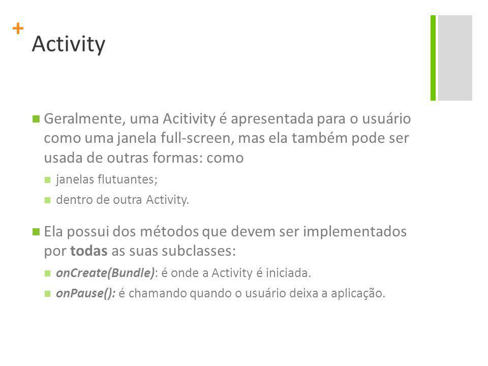 Activity Geralmente, uma Acitivity é apresentada para o usuário como uma janela full-screen, mas ela também pode ser usada de outras formas: como.