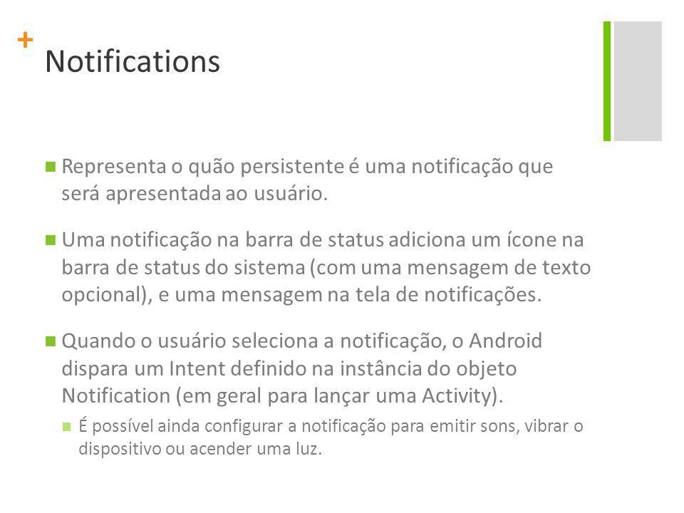 Notifications Representa o quão persistente é uma notificação que será apresentada ao usuário.