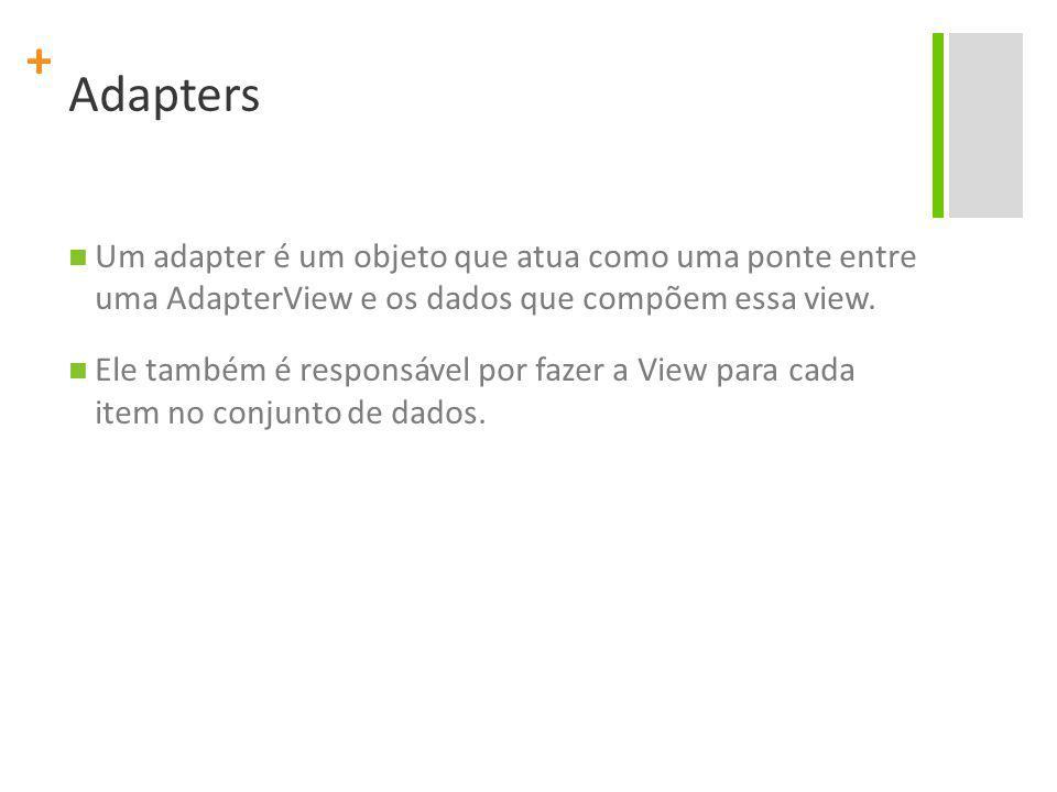 Adapters Um adapter é um objeto que atua como uma ponte entre uma AdapterView e os dados que compõem essa view.