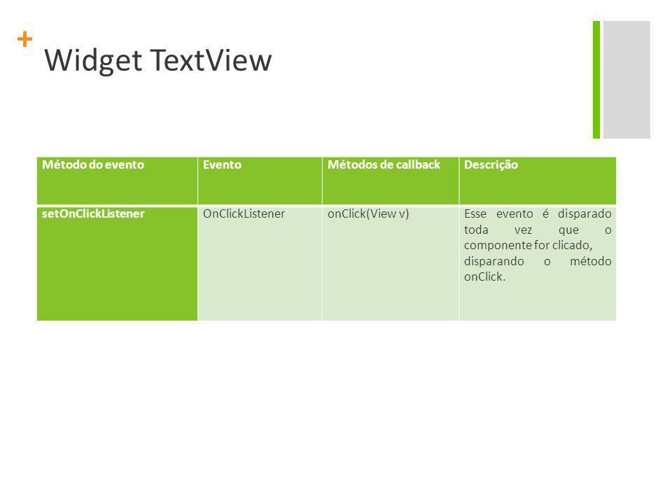 Widget TextView Método do evento Evento Métodos de callback Descrição