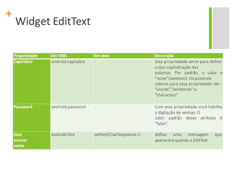 Widget EditText Propriedade Em XML Em Java Descrição Capitalize