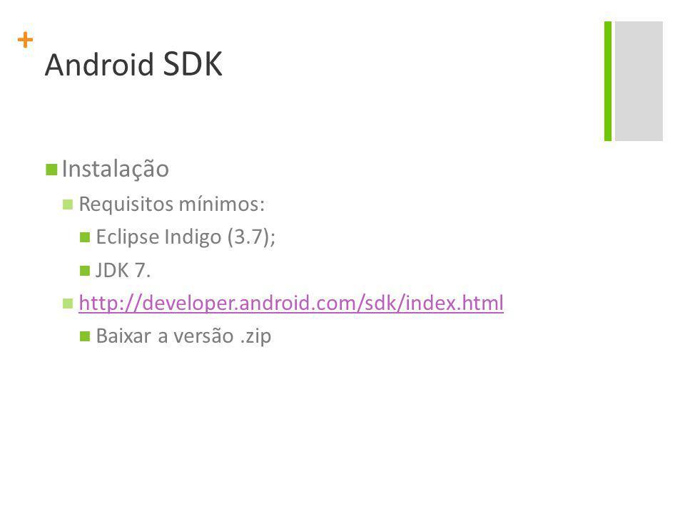 Android SDK Instalação Requisitos mínimos: Eclipse Indigo (3.7);