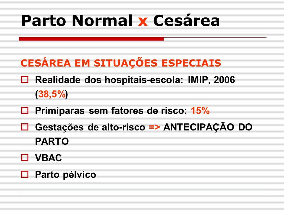 Parto Normal x Cesárea CESÁREA EM SITUAÇÕES ESPECIAIS