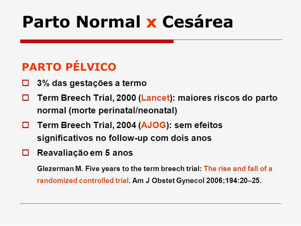 Parto Normal x Cesárea PARTO PÉLVICO 3% das gestações a termo