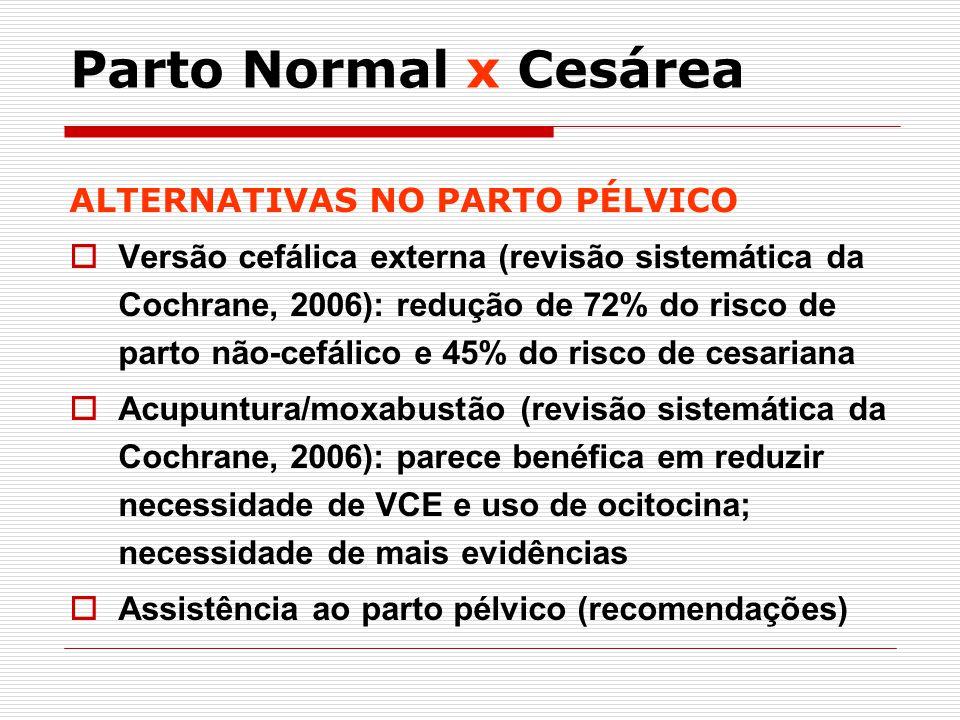 Parto Normal x Cesárea ALTERNATIVAS NO PARTO PÉLVICO