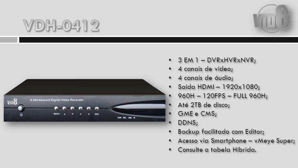 VDH-0412 3 EM 1 – DVRxHVRxNVR; 4 canais de vídeo; 4 canais de áudio;