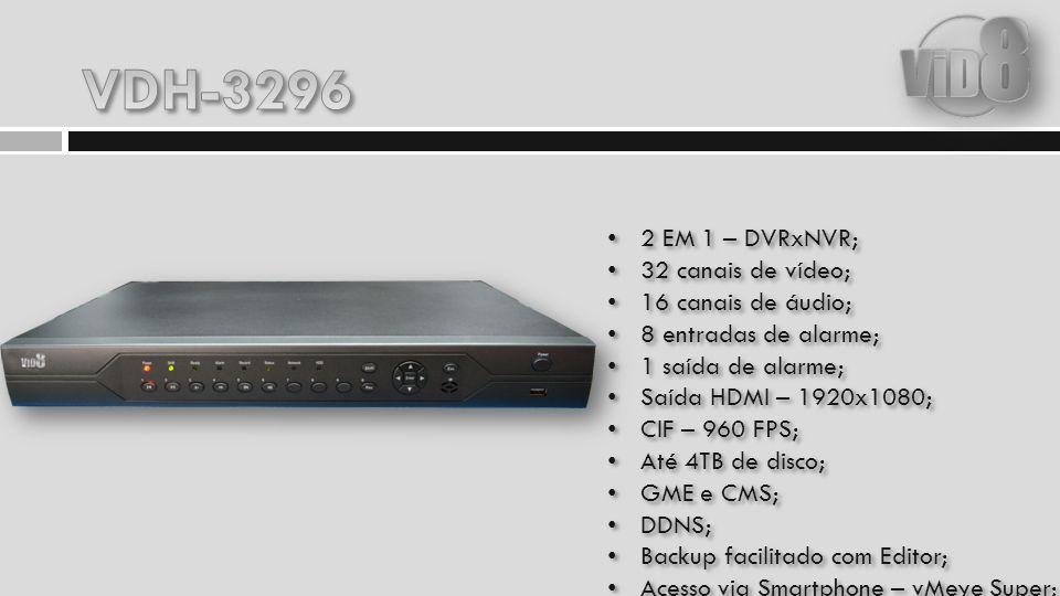 VDH-3296 2 EM 1 – DVRxNVR; 32 canais de vídeo; 16 canais de áudio;