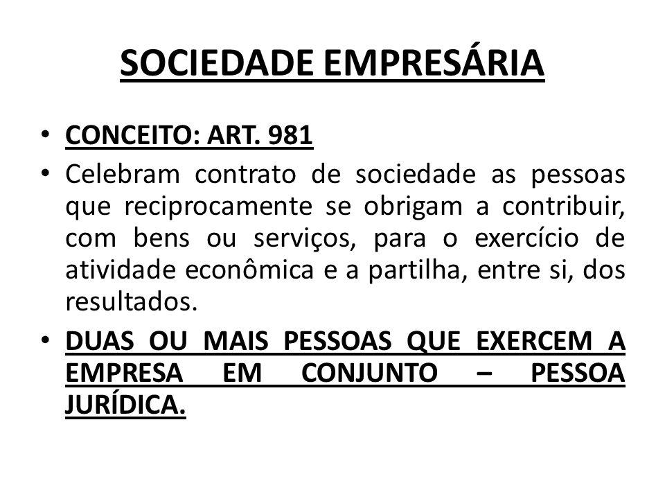 SOCIEDADE EMPRESÁRIA CONCEITO: ART. 981