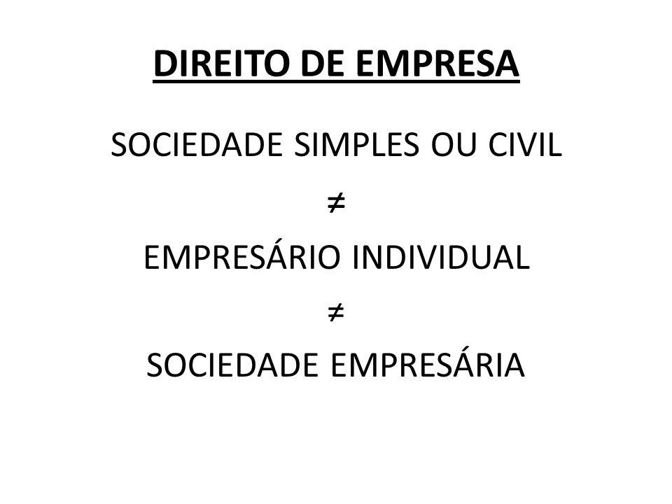 DIREITO DE EMPRESA ≠ SOCIEDADE SIMPLES OU CIVIL EMPRESÁRIO INDIVIDUAL