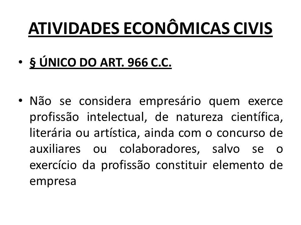 ATIVIDADES ECONÔMICAS CIVIS