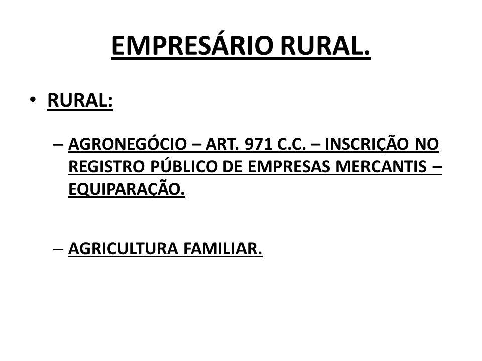 EMPRESÁRIO RURAL. RURAL: