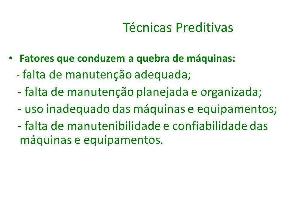 Técnicas Preditivas - falta de manutenção planejada e organizada;