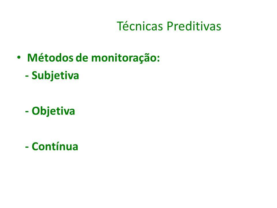 Técnicas Preditivas Métodos de monitoração: - Subjetiva - Objetiva