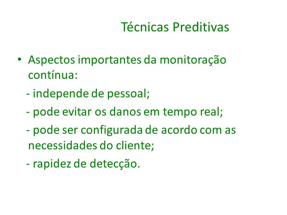 Técnicas Preditivas Aspectos importantes da monitoração contínua: