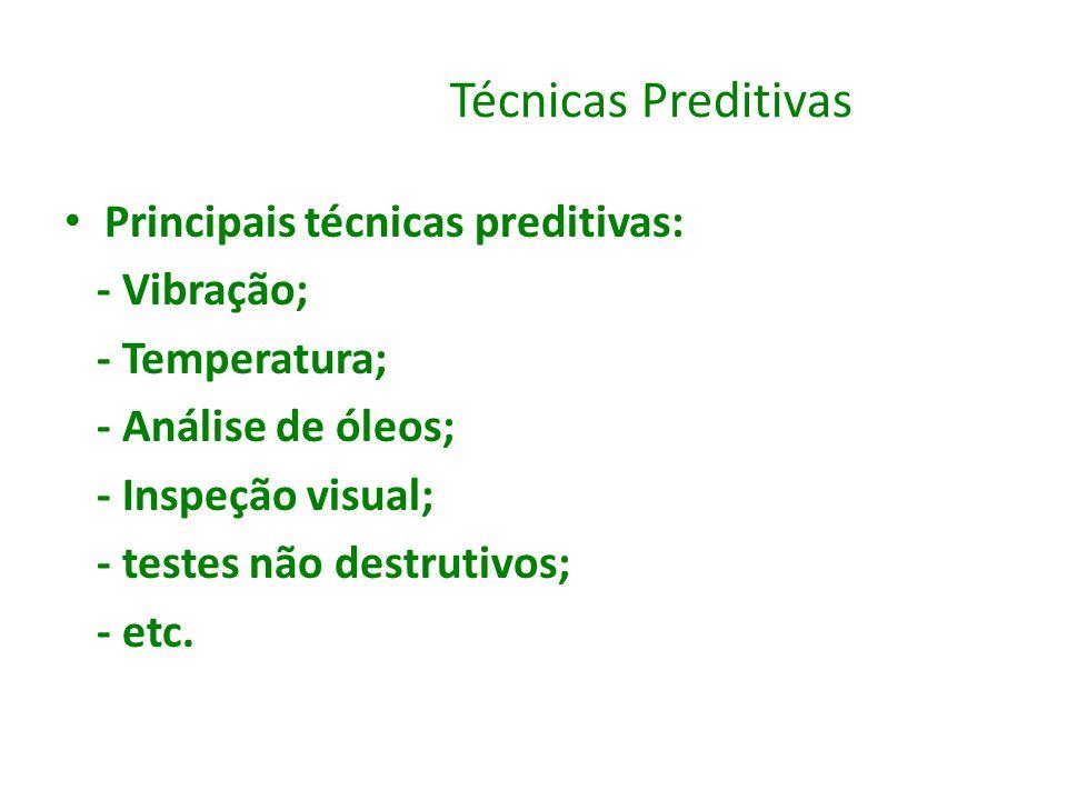 Técnicas Preditivas Principais técnicas preditivas: - Vibração;