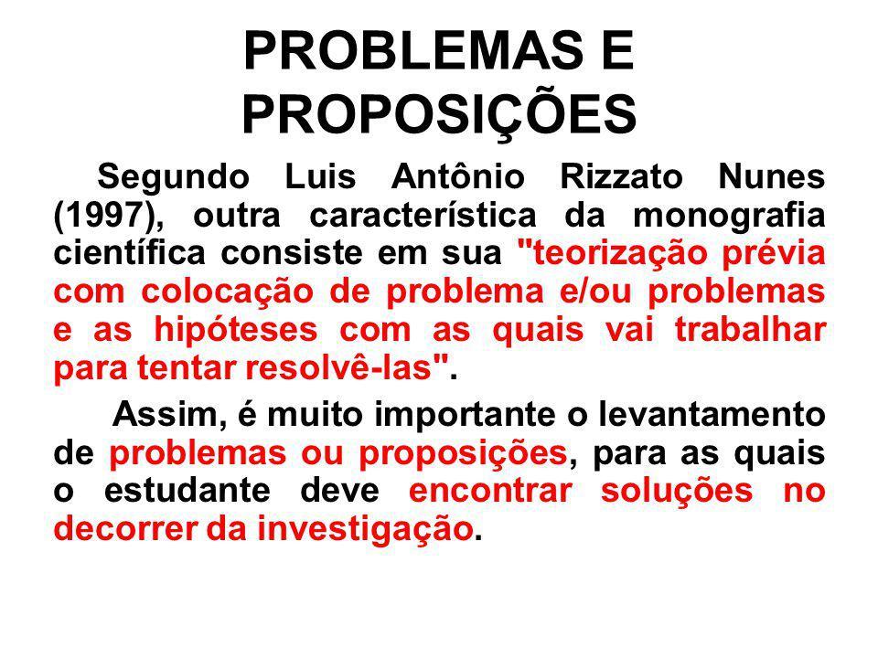 PROBLEMAS E PROPOSIÇÕES