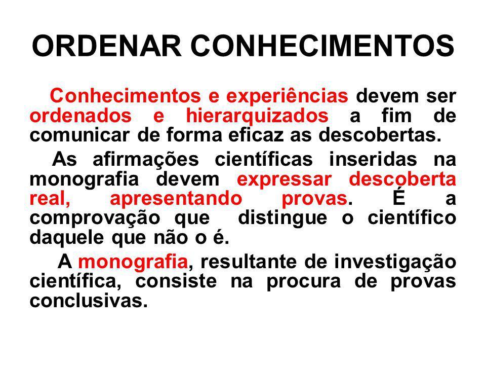ORDENAR CONHECIMENTOS