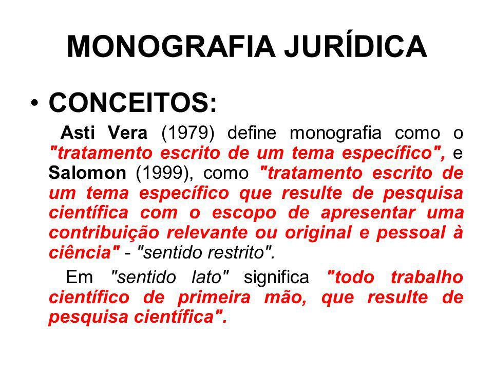 MONOGRAFIA JURÍDICA CONCEITOS: