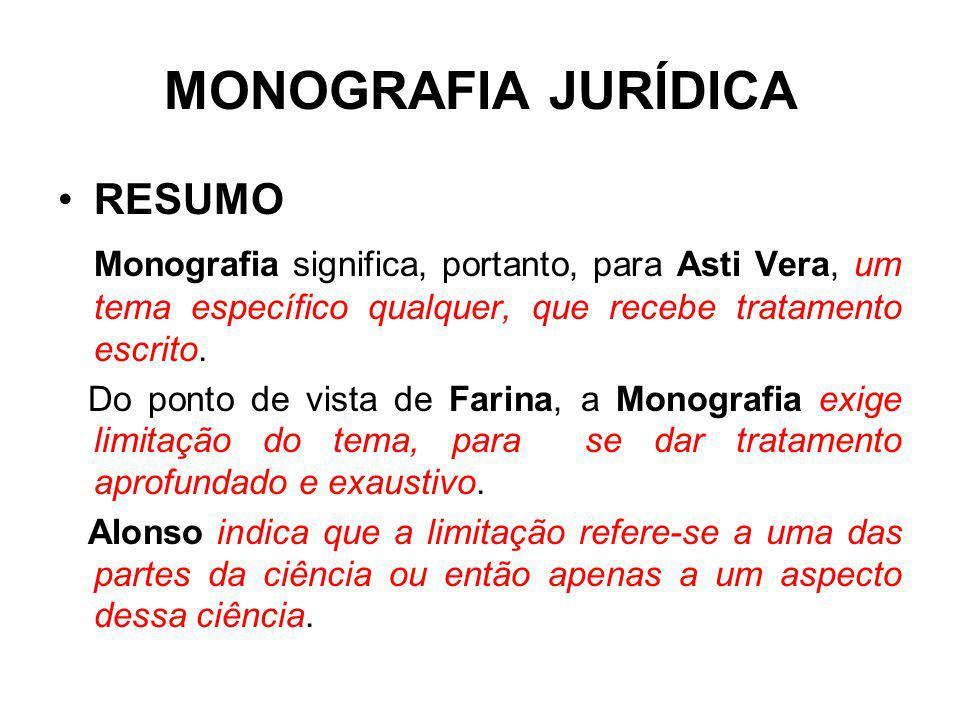 MONOGRAFIA JURÍDICA RESUMO