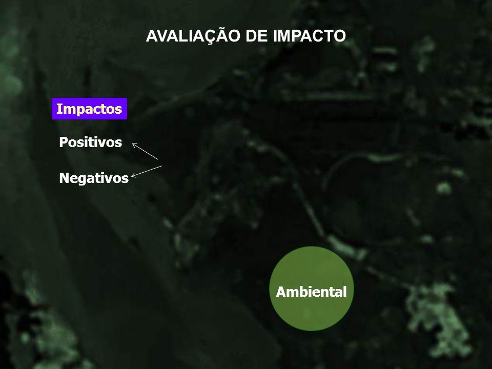 AVALIAÇÃO DE IMPACTO Impactos Positivos Negativos Ambiental