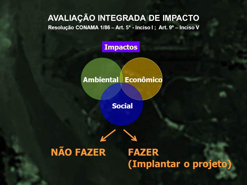 NÃO FAZER FAZER (Implantar o projeto) AVALIAÇÃO INTEGRADA DE IMPACTO