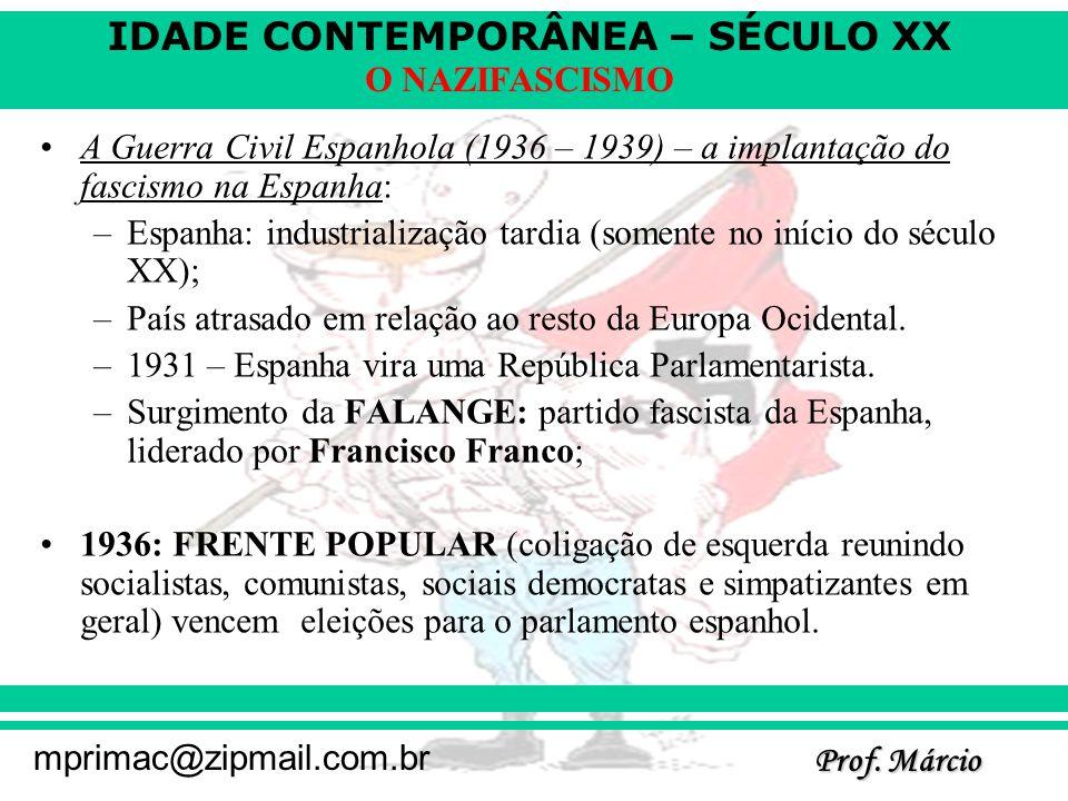 A Guerra Civil Espanhola (1936 – 1939) – a implantação do fascismo na Espanha: