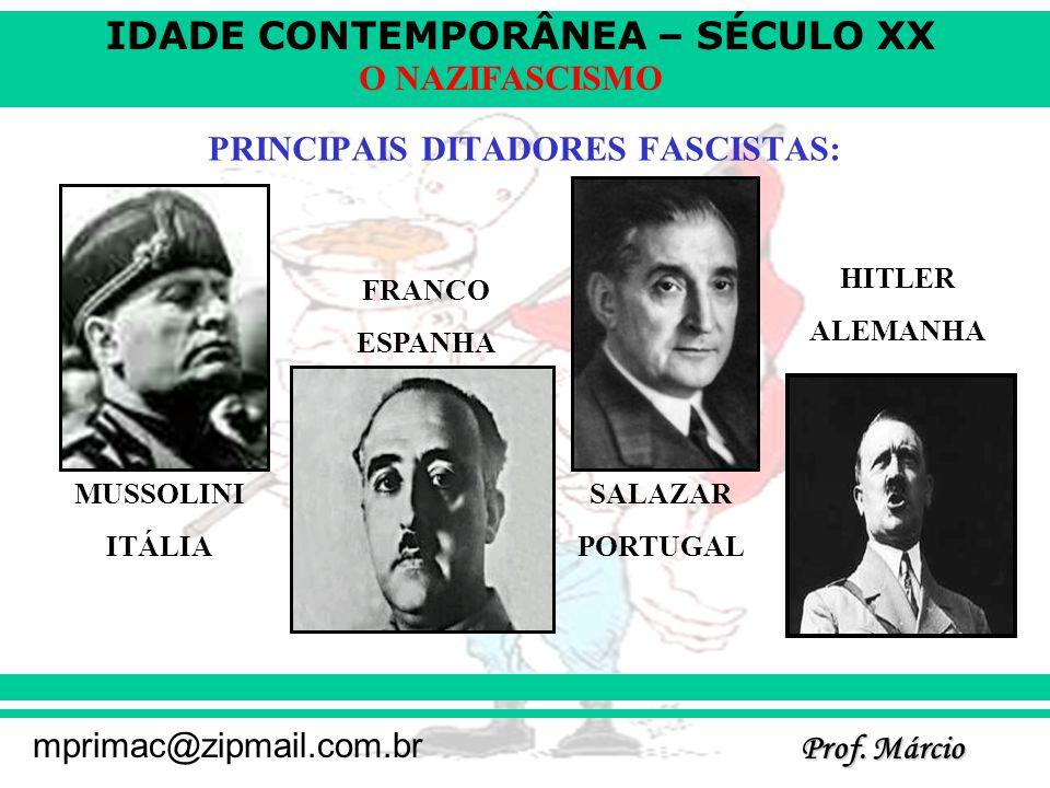 PRINCIPAIS DITADORES FASCISTAS: