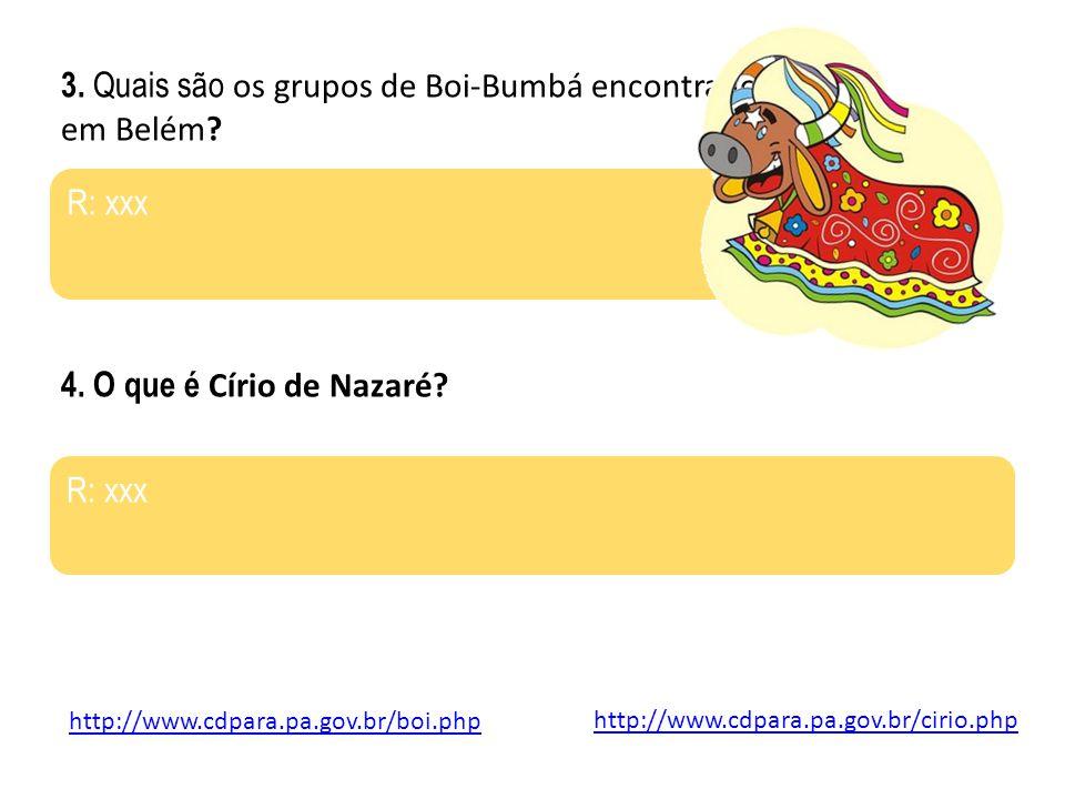 3. Quais são os grupos de Boi-Bumbá encontrados em Belém