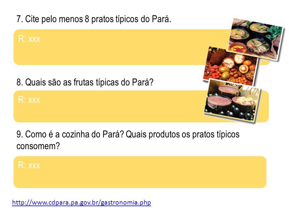 7. Cite pelo menos 8 pratos típicos do Pará.