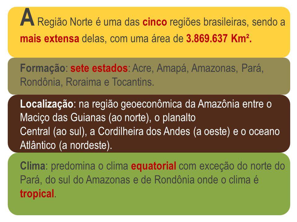 A Região Norte é uma das cinco regiões brasileiras, sendo a mais extensa delas, com uma área de 3.869.637 Km².
