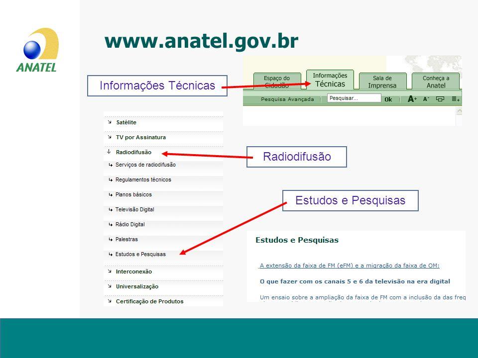www.anatel.gov.br Informações Técnicas Radiodifusão