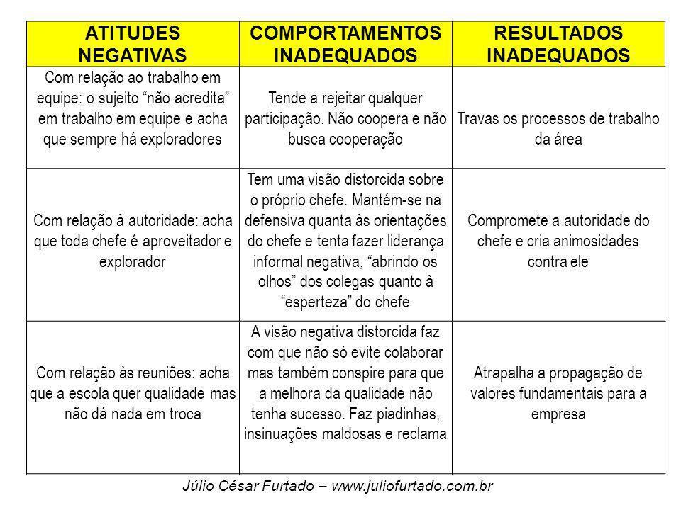 ATITUDES NEGATIVAS COMPORTAMENTOS INADEQUADOS RESULTADOS