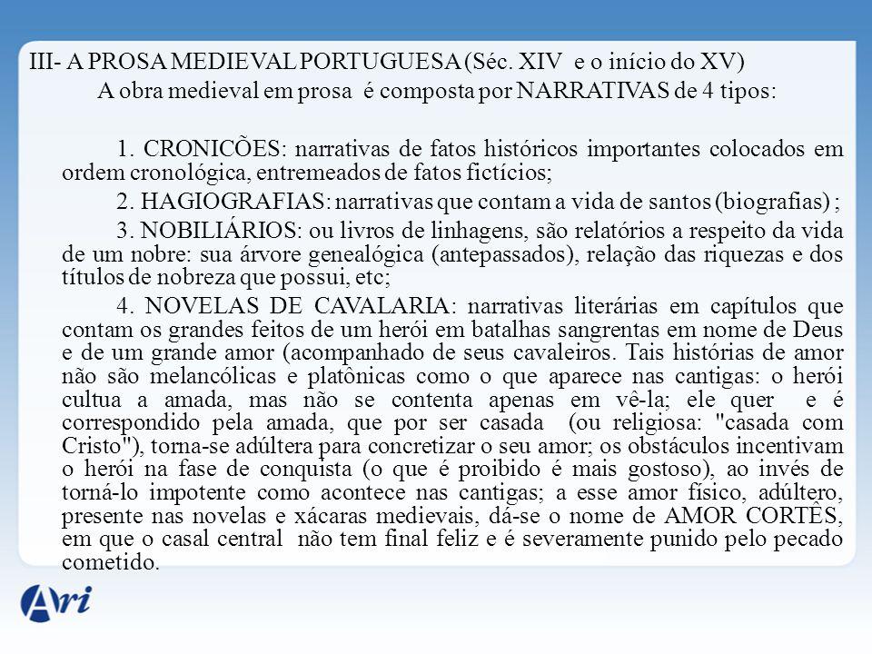 III- A PROSA MEDIEVAL PORTUGUESA (Séc