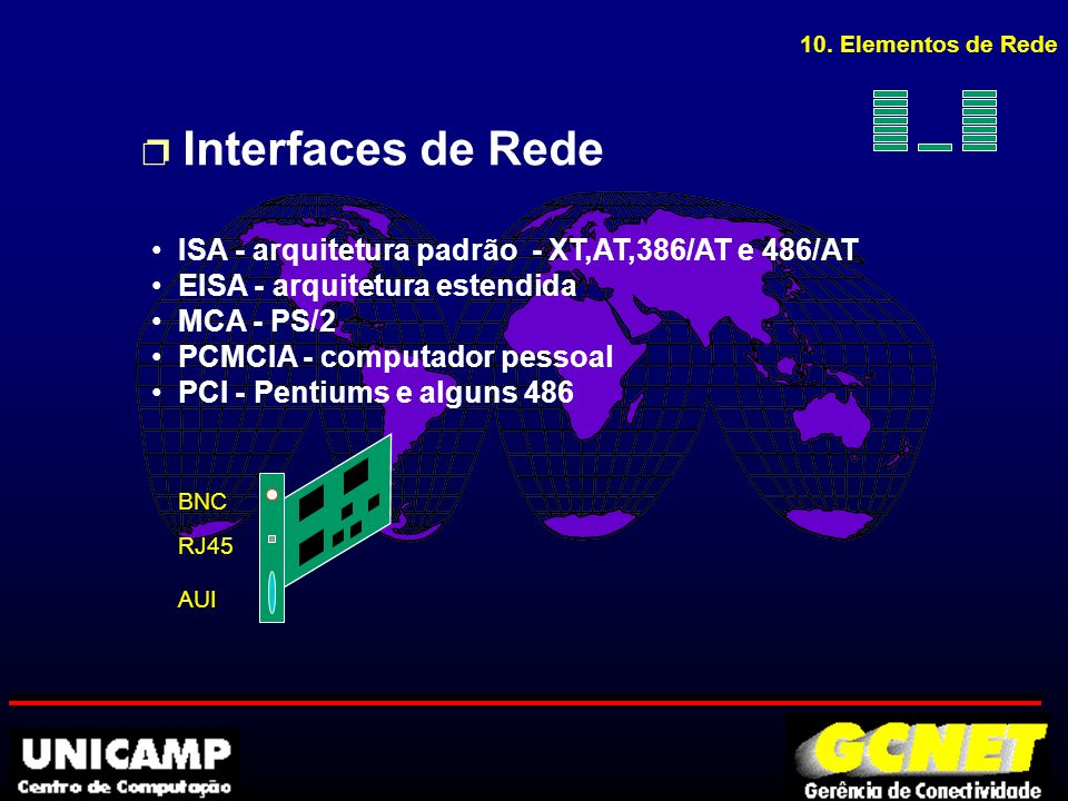 Cabo 10Base2 conectores: tipo BNC (Bayonet Neil Concelman)