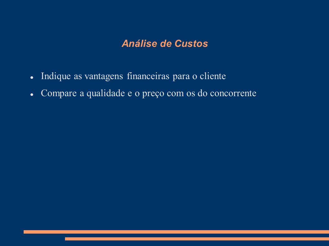Análise de Custos Indique as vantagens financeiras para o cliente.