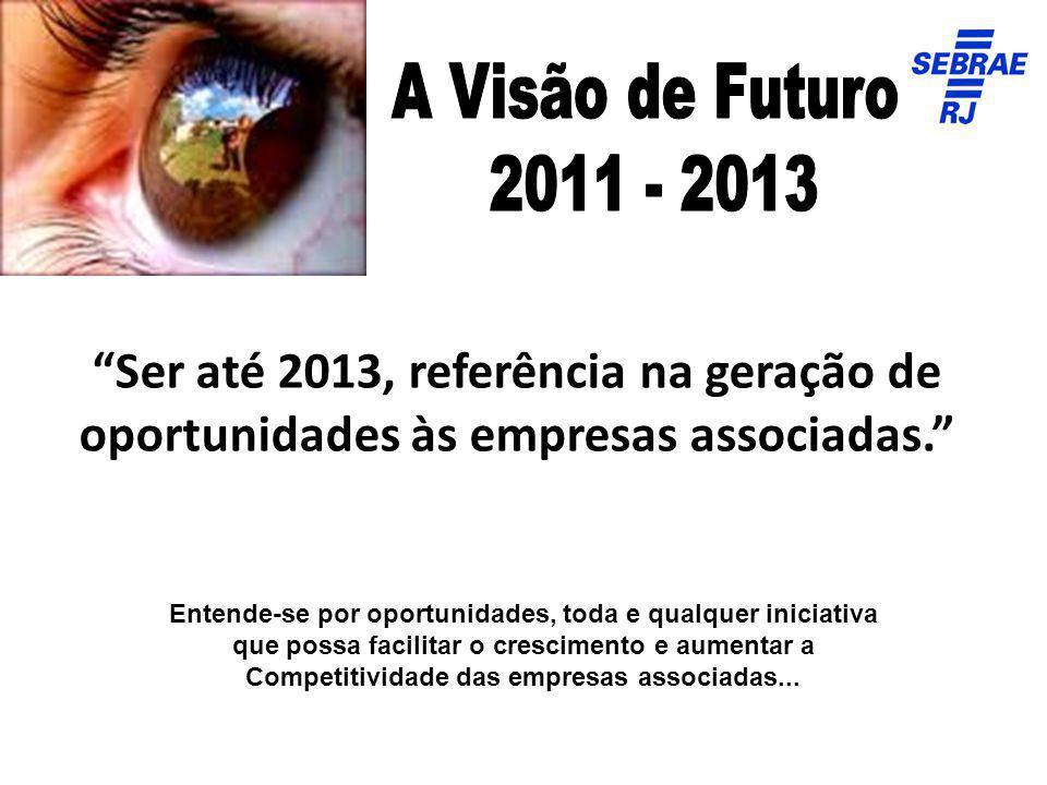 A Visão de Futuro 2011 - 2013. Ser até 2013, referência na geração de oportunidades às empresas associadas.