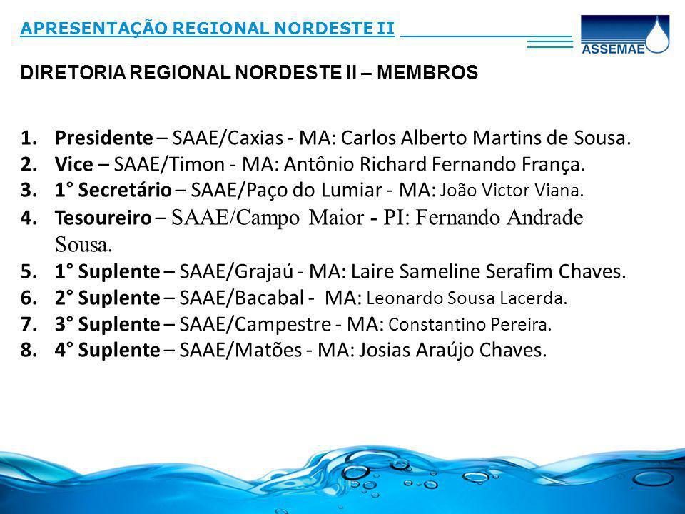 Presidente – SAAE/Caxias - MA: Carlos Alberto Martins de Sousa.