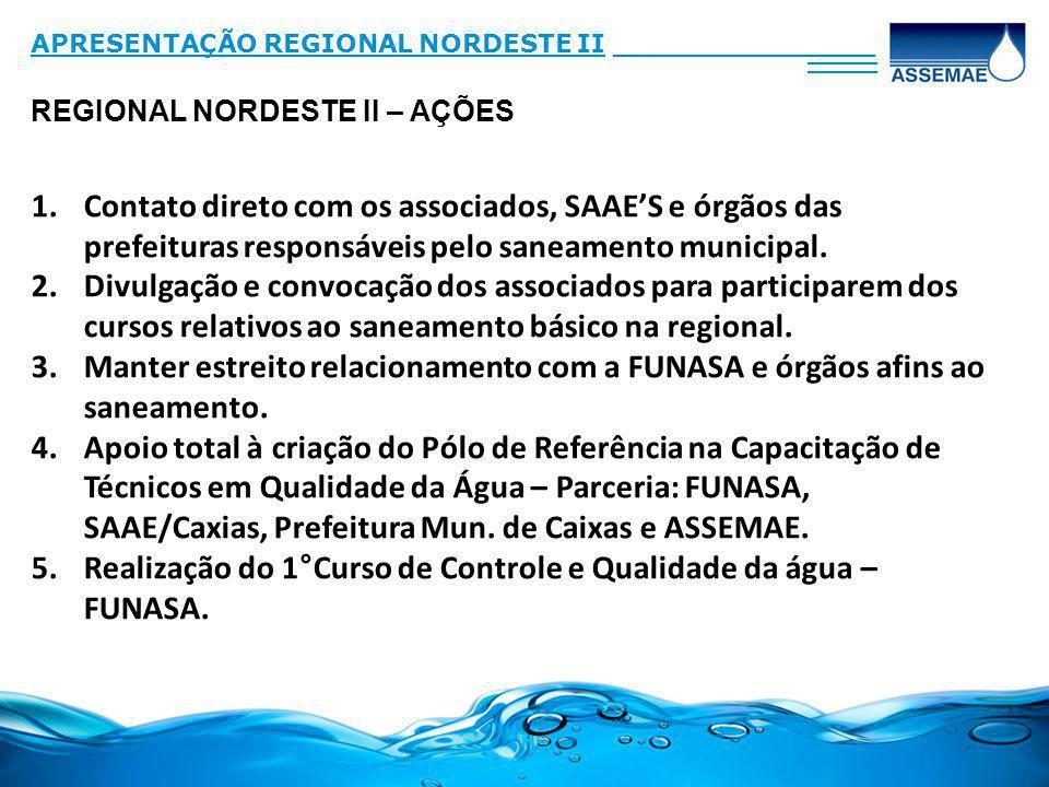 Realização do 1°Curso de Controle e Qualidade da água – FUNASA.