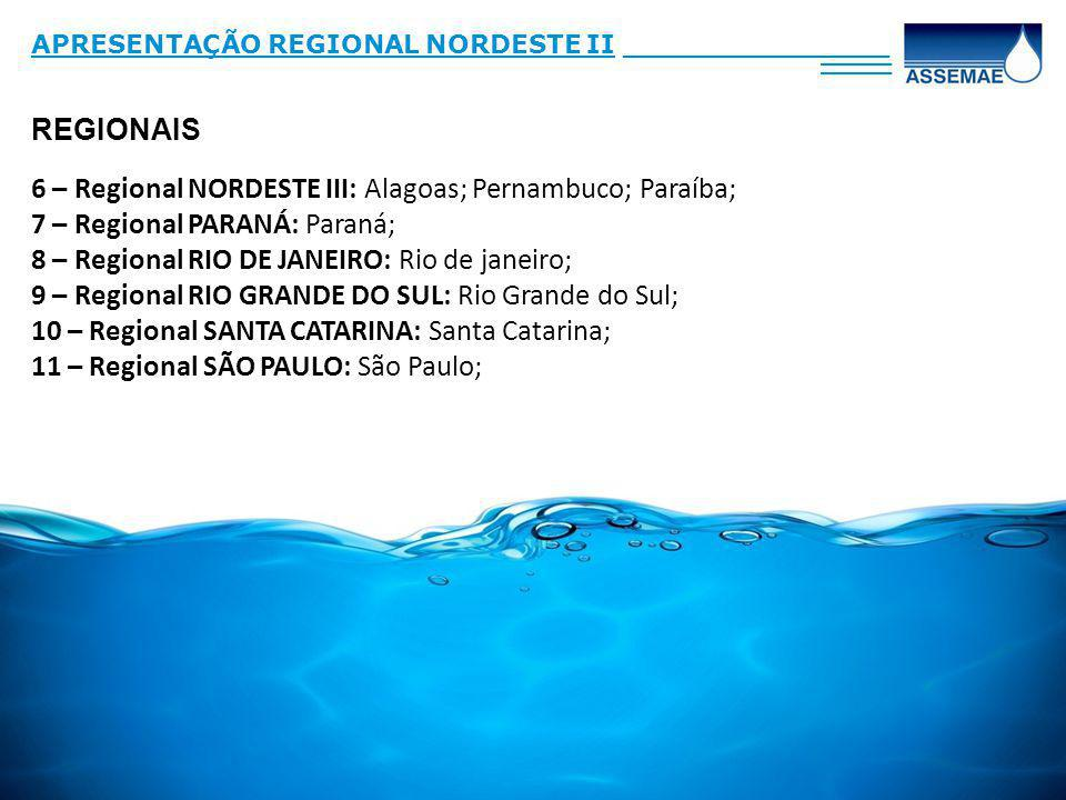 6 – Regional NORDESTE III: Alagoas; Pernambuco; Paraíba;