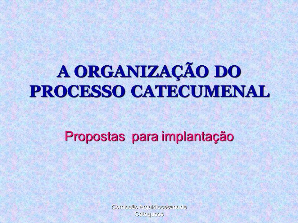 A ORGANIZAÇÃO DO PROCESSO CATECUMENAL