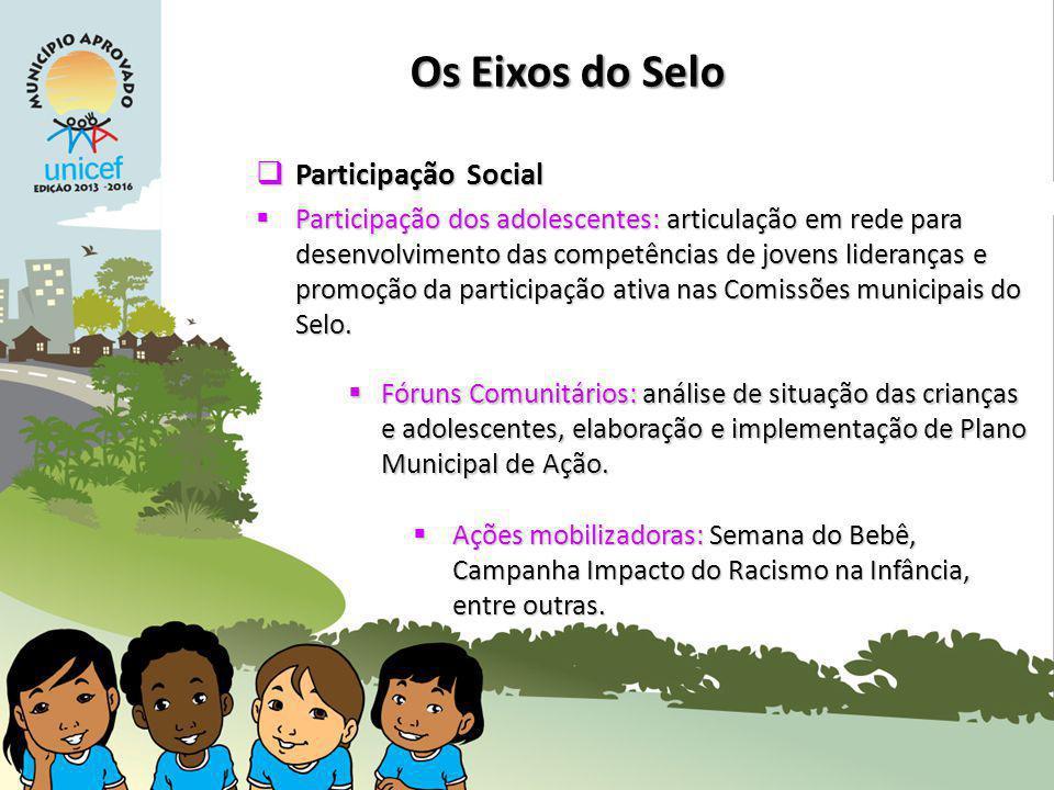 Os Eixos do Selo Participação Social