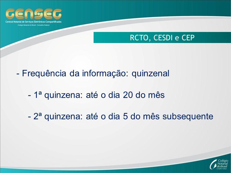 Frequência da informação: quinzenal 1ª quinzena: até o dia 20 do mês