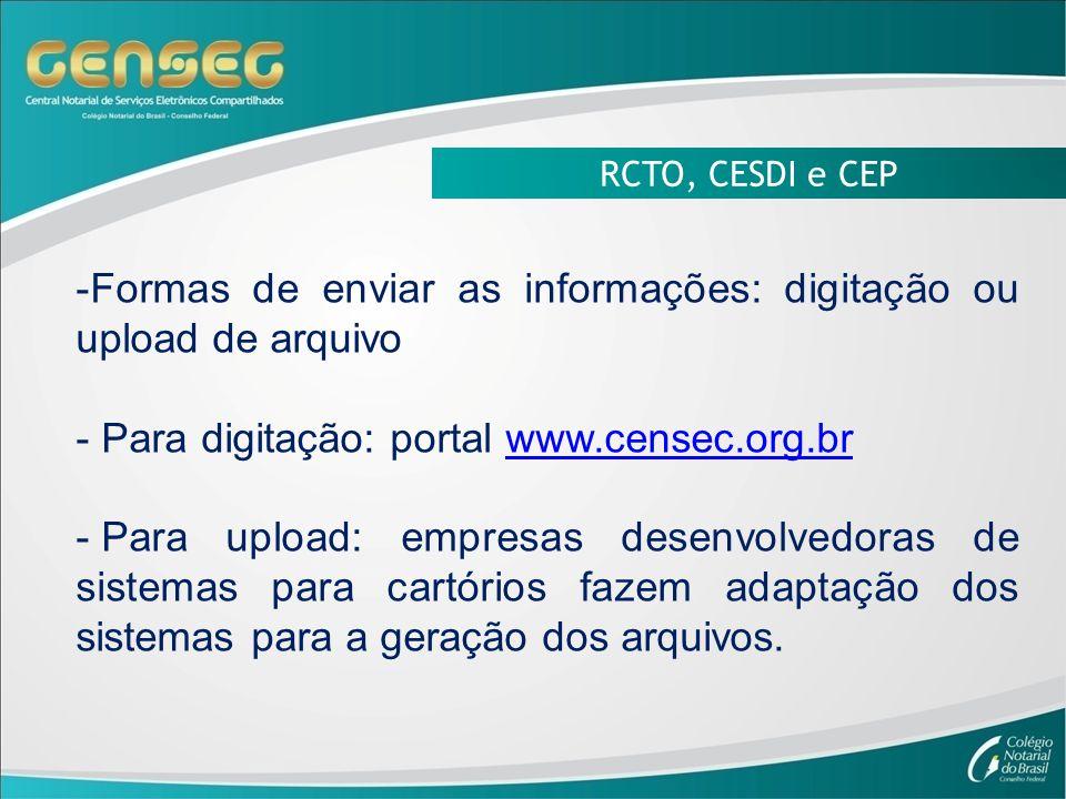 Formas de enviar as informações: digitação ou upload de arquivo